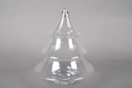 A040R4 Bonbonnière en verre sapin de Noël D32cm H38cm
