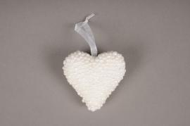 A040UH Boîte de 6 coeur en perles blanc D7cm