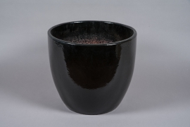A040YD Black glazed ceramic pot D50cm H42cm