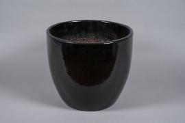 A040YD Pot en céramique émaillé noir D50cm H42cm