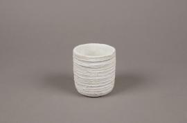A041AC Cache-pot en béton strié blanc D8cm H9cm