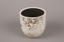 A041BS Cache-pot en céramique blanc D16cm H14cm