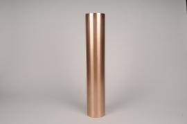 A041E0 Bougeoir cylindre métal cuivre D9cm H55cm
