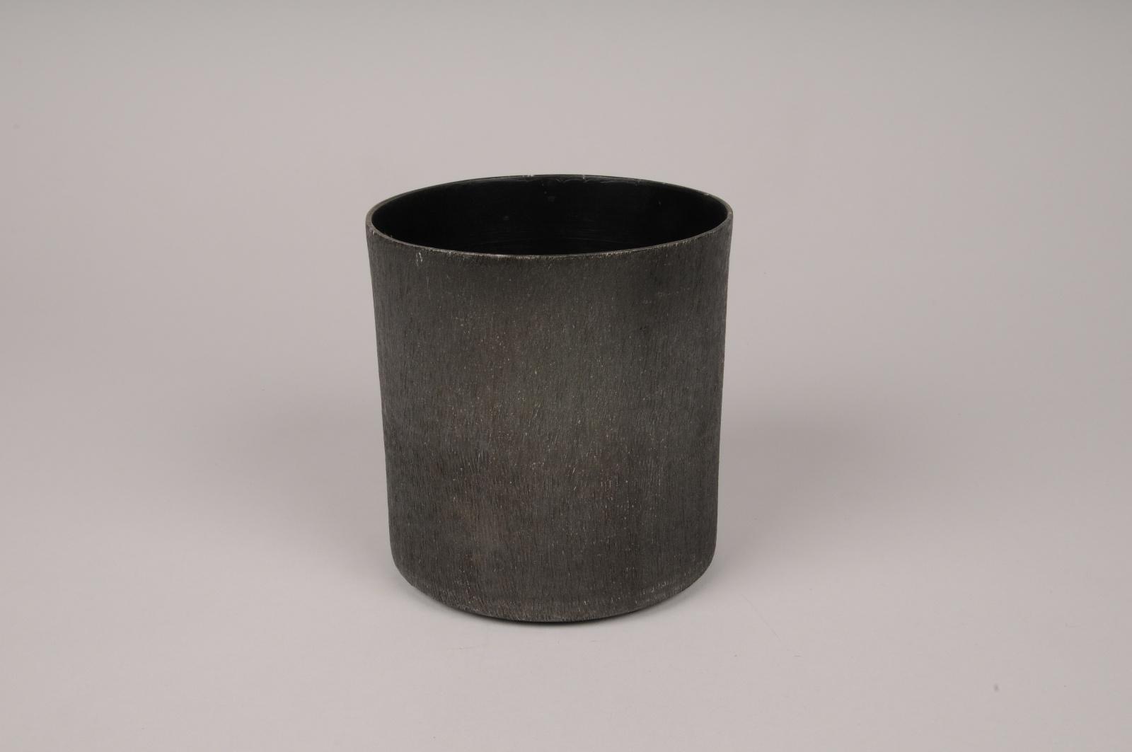 A041E5 Cache-pot en métal gris anthracite D12cm H12cm