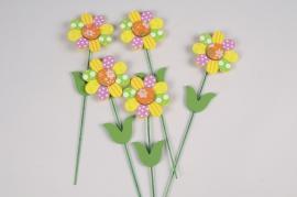 A041E9 Sachet de 12 pics fleurs en bois H24cm