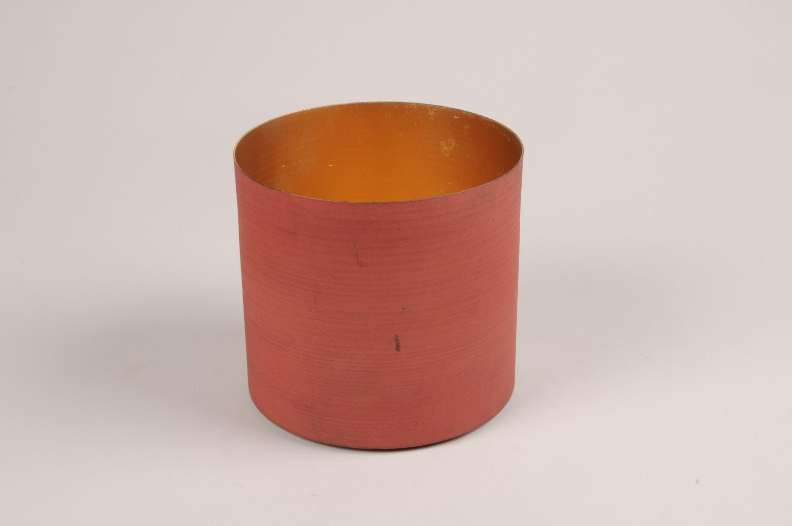 A041JY Cache-pot en métal rouge D9cm H7.5cm