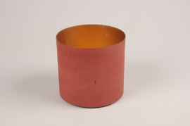 A041JY Red metal planter D9cm H7.5cm