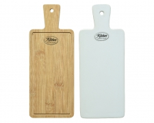 A041KI Planche en porcelaine/bambou assortie L9cmx23cm