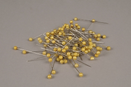 A041MG Box of 100 gold beads on pin 6x65mm