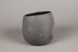 A041N8 Cache-pot en terre cuite noir D15cm H14cm