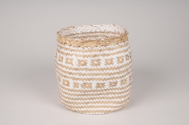 A041UV Two-tone weaved planter D16cm H17cm