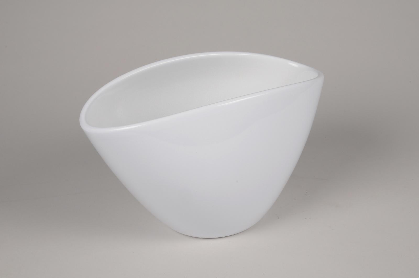 A042A8 Jardinière en céramique blanche 28.5x15cm H17.5cm
