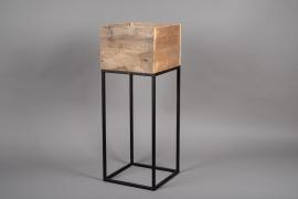 A042AY Jardinière en bois et métal 28cm x 28cm H75cm