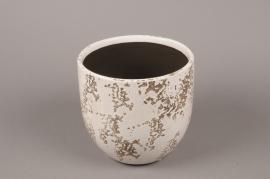 A042BS Cache-pot en céramique blanc D17cm H16.5cm