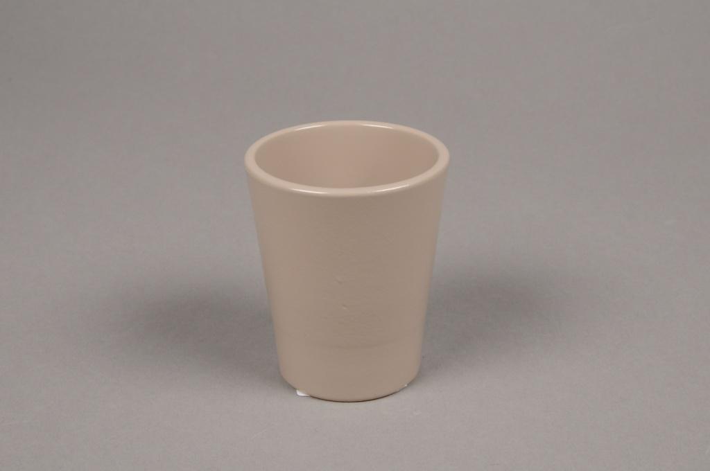 A042DO Cache-pot en céramique taupe D7cm H8cm