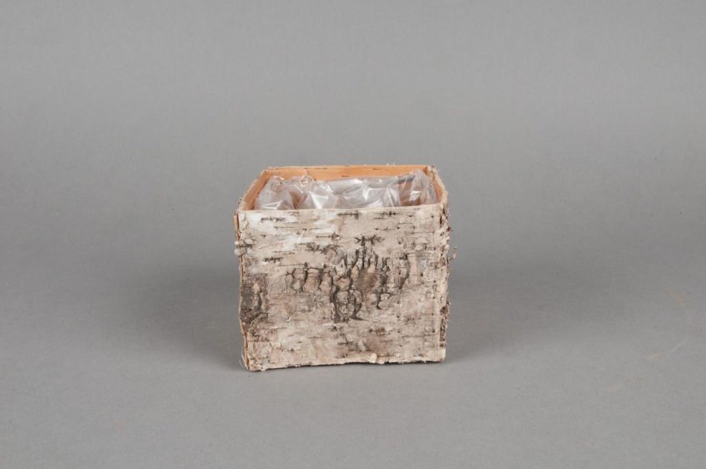 A042DZ Natural bark planter 9x9x8cm