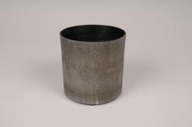 A042E5 Cache-pot en métal gris anthracite D10cm H10cm