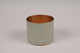 A042JY Cache-pot en métal vert D9cm H8cm