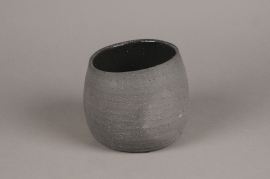 A042N8 Cache-pot en terre cuite noir D16.5cm H15cm