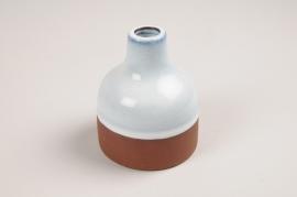 A042QS Vase soliflore en céramique bleu D7.5cm