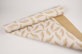 A042RB Roll of kraft paper design feather 70cm x 50cm