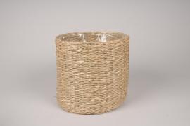 A042UV Cache-pot tressé naturel D22cm H21cm