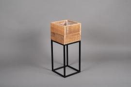 A043AY Jardinière en bois et métal 22cm x 22cm H54.5cm