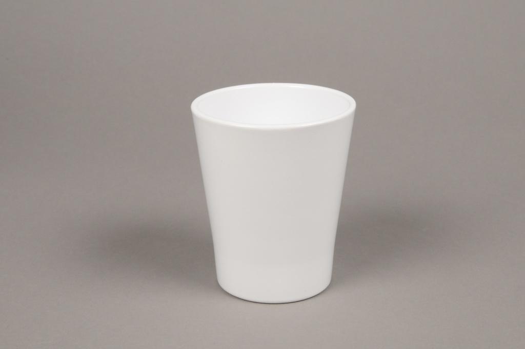 A043DO Cache-pot en céramique blanc D10cm H12cm