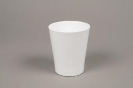 A043DO White ceramic planter pot D10cm H12cm