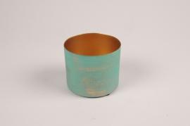 A043JY Cache-pot en métal vert bleu D9cm H7.5cm
