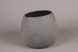 A043N8 Cache-pot en terre cuite noir D22cm H19cm
