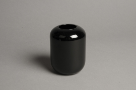 A043P5 Black glass vase D8cm H11cm