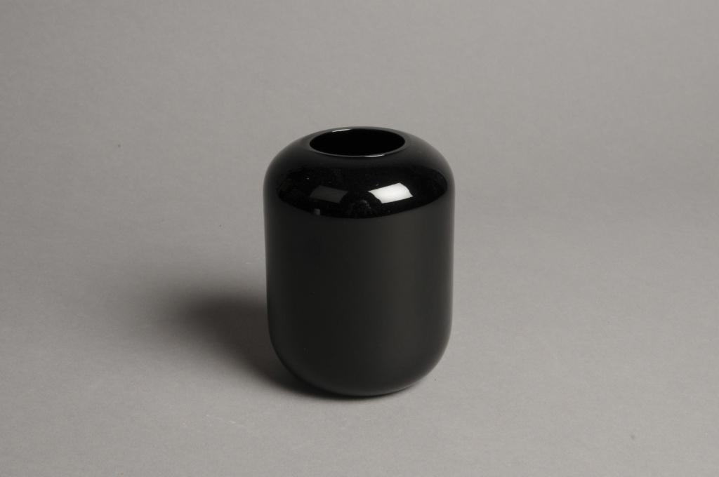 A043P5 Vase en verre noir D8cm H11cm