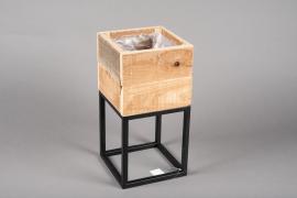 A044AY Jardinière en bois et métal 18cm x 18cm H35.5cm