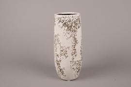 A044BS Vase en céramique blanc D9.5cm H25cm