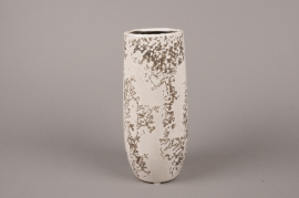 A044BS White ceramic vase D9.5cm H25cm