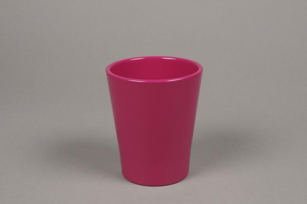 A044DO Cache-pot en céramique fuchsia D10cm H12cm