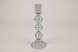 A044KI Bougeoir en verre D8cm H21cm