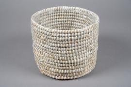 A044M5 White weaved planter D26cm H21cm