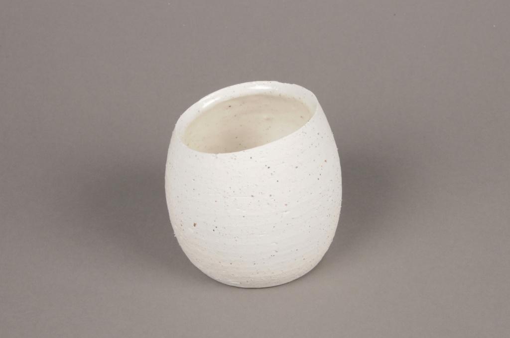 A044N8 Cache-pot en terre cuite blanc D10cm H9cm