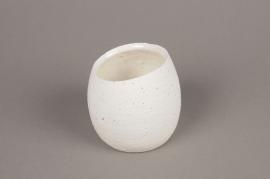 A044N8 White terracotta planter D10cm H9cm