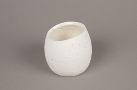A044N8 White terracotta planter D10cm H9cm
