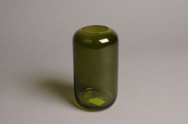 A044P5 Green glass vase D8cm H15cm