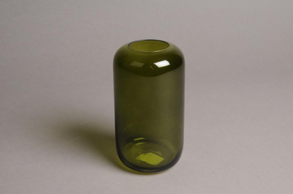A044P5 Vase en verre vert D8cm H15cm