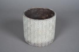 A044U0 Cache-pot en béton bronze patiné D17cm H16cm