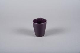 A044WV Cache pot en céramique violet D8cm H9cm