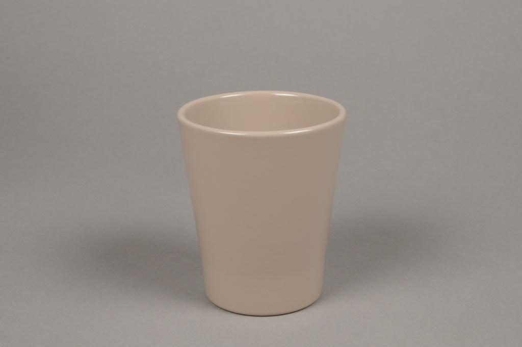 A045DO Cache-pot en céramique taupe D10cm H12cm