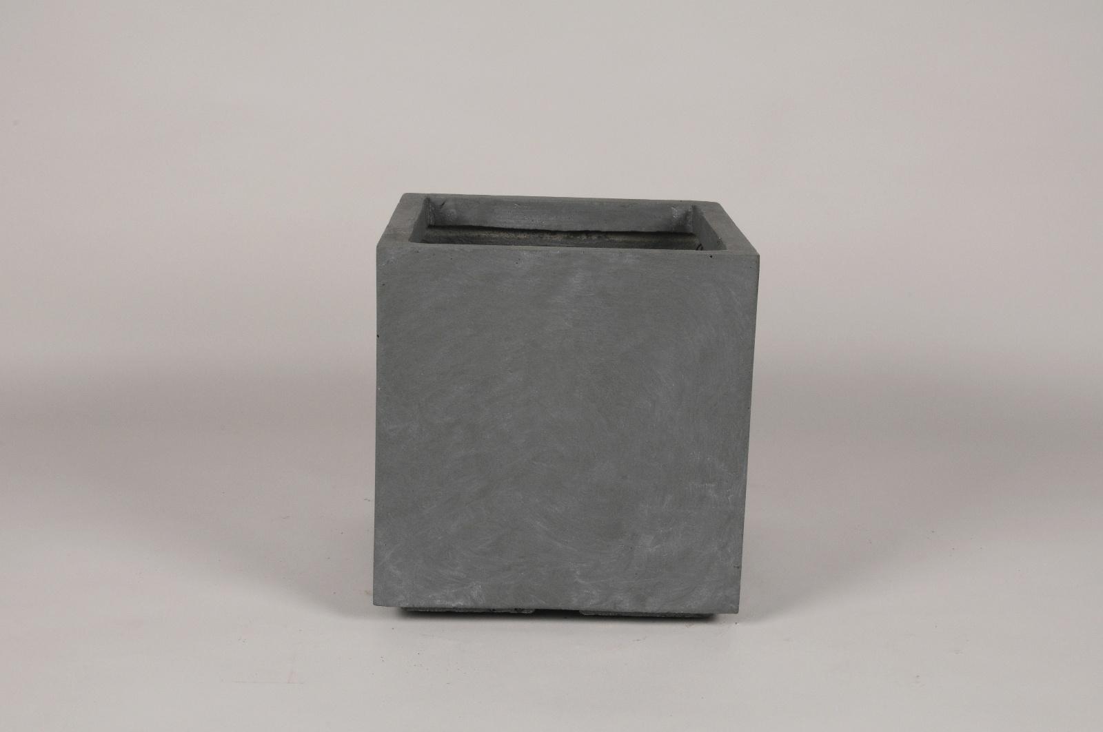 A045NM Pot clayfibre gris 27x27cm H28.5cm