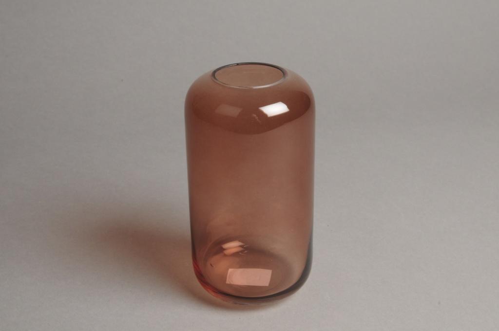 A045P5 Vase en verre rose D8cm H15cm