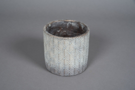 A045U0 Cache-pot en béton bronze patiné D13cm H13cm